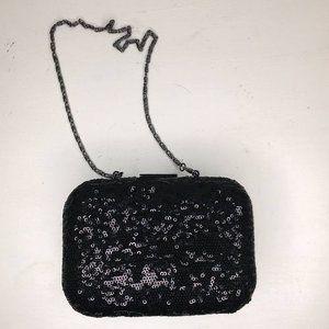 Splash Black Sequined Minaudiere Style Clutch